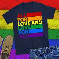 Equality shirt/ lgbt shirt/ lgbt pride tanks/ gay pride shirt/ gay pride clothing/ equal rights shirt/ All for Love and love for all/ lgbtq Gay Outfit, Pride Outfit, Equality Shirt, Gay Pride Shirts, Lgbt Love, Pride Parade, Kids Shirts, Pride Clothing, Equal Rights