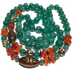 BEAUTIFUL ANTIQUE/ VINTAGE JADE AND CARNELIAN BEADED SINGLE STRAND NECKLACE