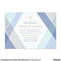 Contemporary Stripes Bar Mitzvah 5x7 Paper Invitation Card