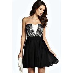 Boohoo Tabitha Bandeau Lace Panel Prom Dress ($26) ❤ liked on Polyvore featuring dresses, black cocktail dresses, lace insert dress, kohl dresses, boohoo dresses and black bandeau dress