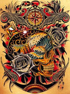 Course by Tyler Bredeweg Old School Ship Skull Tattoo Canvas Art Print – moodswingsonthenet