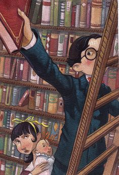 """Baudelaires in the Library"" print by Brett Helquist 