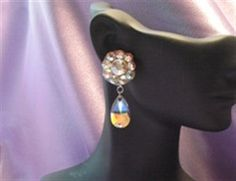 Flower and pear dangle Swarovski Crystal earring