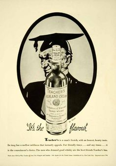 1936 Ad Teachers Highland Cream Blended Scotch Whisky Bottle Alcohol YTS3
