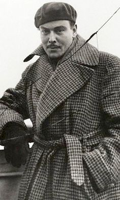 Nils Asther 1935. Houndstooth overcoat