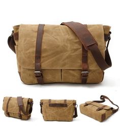 We use selected thick cotton waxed canvas, quality hardware and cotton lining to make the bag as good as it is. The inside removable padded insert bag can fit t Cool Messenger Bags, Travel Messenger Bag, Vintage Messenger Bag, Canvas Messenger Bag, Vintage Canvas, Leather Bags Handmade, Canvas Shoulder Bag, Waxed Canvas, Custom Bags