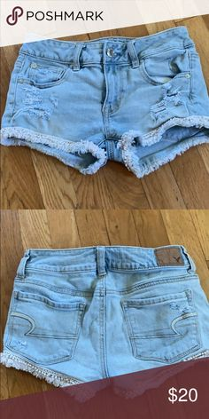 01eef98cabafd jean shorts stretchy jean shorts with crochet detailing American Eagle  Outfitters Shorts Jean Shorts