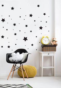 Gwiazdki czarne- naklejki ścienne (różne rozmiary) - Szare-Kropki - Naklejki na ścianę