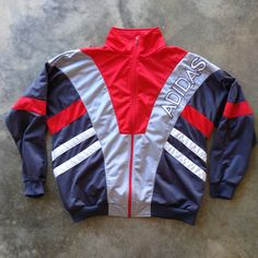 Vintage 90's Adidas Red/Grey Spell Out Track Jacket - (Large/XLarge) by StreetDeco on Etsy