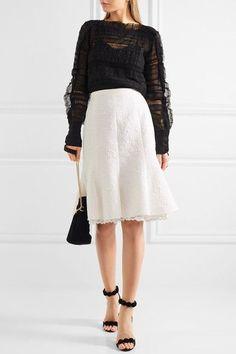 Oscar de la Renta - Fluted Lace-trimmed Cotton-blend Cloqué Skirt - White - US12