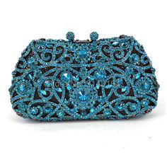 Fashion Aquamarine Diamond Crystal Luxury handbag Blue Handmade Stylish Evening Party Purse S Bridal Handbags, Ladies Handbags, Blue Handbags, Wedding Clutch, Diy Handbag, Beaded Purses, Vintage Purses, Evening Bags, Evening Party