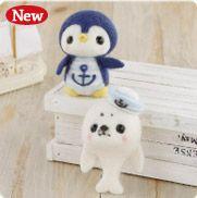 ハマナカ つぶらな瞳の羊毛マスコット マリンルックのペンギンとアザラシ H441-370