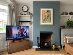 Living Room Color Schemes, Living Room Colors, Living Room Paint, New Living Room, Living Room Designs, Living Room Decor, Blue Feature Wall Living Room, Farrow And Ball Living Room, Bay Window Living Room