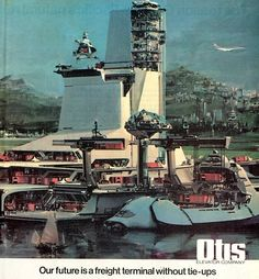 """Our Future Is..."" OTIS Elevators Ad Series (1975) Art by John Berkey http://futuristicrobots.blog.fc2.com/blog-entry-30.html http://futuristicrobots.blog.fc2.com/page-2.html"