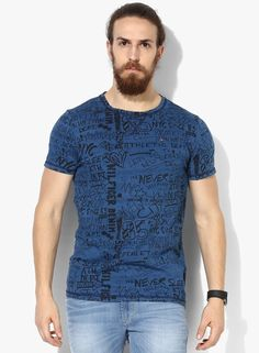 Buy Tommy Hilfiger Blue Printed Round Neck T-Shirt for Men Online India, Best Prices, Reviews | TO348MA47FTXINDFAS