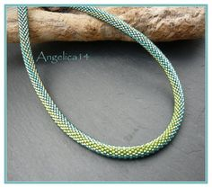Grüne Blindschleiche , second time I did this pattern after 2007. Green and aqua Treasures and Delicas