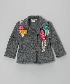 Gray Rosette Knit Blazer