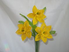 French Beaded Flowers Yellow Daffodils