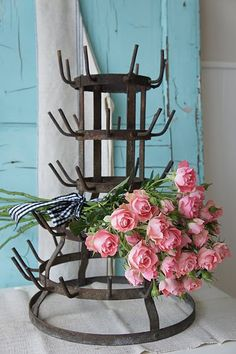 wine bottle drying rack....wish I could find one of these......would make a great bottle tree