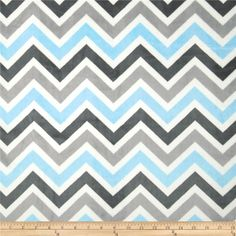 Minky Cuddle Zig Zag Baby Blue/Silver from @fabricdotcom  This Minky Cuddle fabric has an extremely soft 3 mm pile that's perfect for apparel, blankets, throws, pillows and stuffed animals. Colors include baby blue, white, silver and ash.