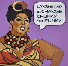 """Latrice Royale - """"Large and in Charge / Chunky yet Funky"""" - Original RuPaul's Drag Race Pop Art Painting. $165.00, via Etsy."""