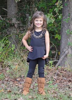 Girls Jewels and Peplum Top Black - Ryleigh Clothing by Modern Vintage Boutique
