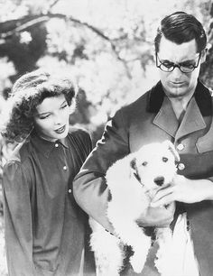 """Cary Grant & Katherine Hepburn with George from """"Bringing Up Baby"""", one of the funniest movies ever!"""