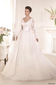 tarik ediz 2014 bridal collection sweetheart long sleeves lace a line wedding dress gelincik g1110