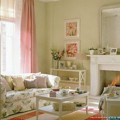 Pastel Room With Floral Sofa And Pink Curtains