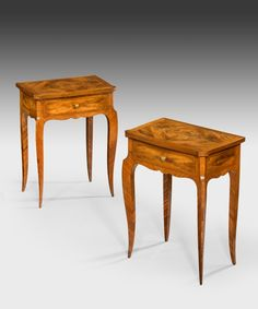 A pair of Louis XV design side tables.  The size of these tables allow to have beautiful lines without compromising space. Perfect as bedside tables.