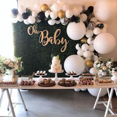 baby shower balloons Greenery and Gold balloons, Baby Shower Planning and Decorations: hanapartycom : hanapartycom Boy Baby Shower Themes, Baby Shower Balloons, Baby Shower Gender Reveal, Baby Boy Shower, Baby Shower Green, Baby Shower Decorations Neutral, White Baby Showers, Baby Shower Invitaciones, Gold Balloons