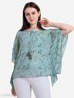 Checkout this latest Tops & Tunics Product Name: *Women's Solid Aqua Blue Georgette Top* Fabric: Georgette Sleeve Length: Three-Quarter Sleeves Pattern: Solid Multipack: 1 Sizes: XS, S (Bust Size: 36 in, Length Size: 24 in)  M, L, XL, XXL, XXXL, 4XL Country of Origin: India Easy Returns Available In Case Of Any Issue   Catalog Rating: ★4.1 (4733)  Catalog Name: Classic Feminine Women Tops & Tunics CatalogID_1099525 C79-SC1020 Code: 083-6886916-9901