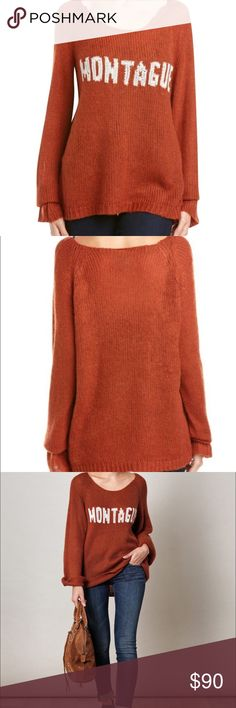 Wildfox White Label Sweater From the exclusive 'Romeo and Juliet' collection, this Wildfox Penny Lane 'Montague' sweater is brand new with tags. The sweater features bell sleeves, a loose fit, and is rust colored with white lettering. Wildfox Sweaters Crew & Scoop Necks