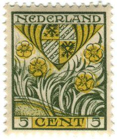 vintage Netherlands postage stamp