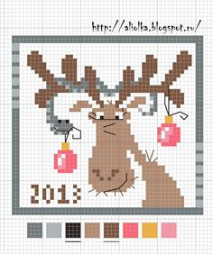 Reindeer with Christmas ornaments cross stitch chart colour chart online, would not pin Cross Stitch Christmas Ornaments, Xmas Cross Stitch, Cross Stitch Cards, Christmas Cross, Cross Stitching, Cross Stitch Embroidery, Cross Stitch Designs, Cross Stitch Patterns, Theme Noel