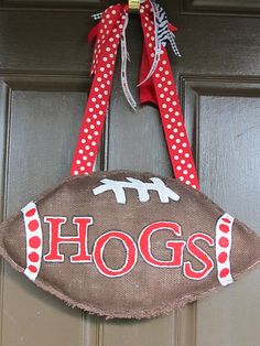 """Need to make one that says """"DAWGS"""" for LaTech Football season // Hogs burlap football door hanger"""