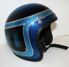 Vintage Motorcycle Helmet Blue Metal Flake by Vintage Helmet, Vintage Racing, Riding Gear, Riding Helmets, Cafe Racer Helmet, Custom Helmets, Harley Bikes, Helmet Design, Hot Bikes