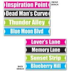 """A really fun decorating item for your 1950s theme party, these Fabulous 50s Street Signs feature various 50's-related lingo such as """"Thunder Alley"""", """"Deadman's Curve"""", and """"Inspiration Point"""".  Each of the four signs is printed on both sides, giving you a total of eight options.  Signs measure 4"""" tall, by 24"""" long.  White lettering printed on a blue, green, pink, or black background."""