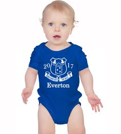 Baby's Everton F.C. football team inspired  Blue bodysuit onesie baby grow. Very cute! by MumKnowsBabyGrows on Etsy
