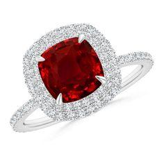 Angara Trellis Ruby and Diamond Three Stone Ring in Platinum 0P7ZTQ