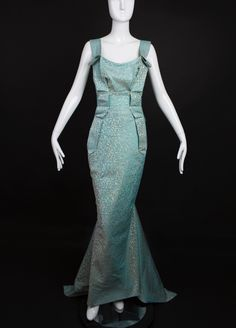 VIVIENNE WESTWOOD-Aqua Brocade Evening Gown, Bust-36