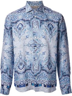 091b6ebc Etro Tom Paisley Shirt in Blue for Men - Lyst Blue Toms, Check Shirt,