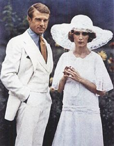 """Jay Gatsby and Daisy Buchanan     """"There must have been moments even that afternoon when Daisy tumbled short of his dreams--not through her own fault but because of the colossal vitality of his illusion. It had gone beyond her, beyond everything. He had thrown himself into it with a creative passion."""""""