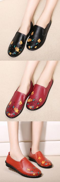 US$20.40 Flower Print Leather Soft Flat Comfortable Casual Shoes_Flower Flats_Summer Shoes For Women