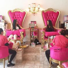 Getting a mani/pedi with your BFF Nail Salon Decor, Beauty Salon Decor, Beauty Salon Interior, Hair And Beauty Salon, Beauty Bar, Luxury Nail Salon, Luxury Nails, American Girl Storage, Kids Salon