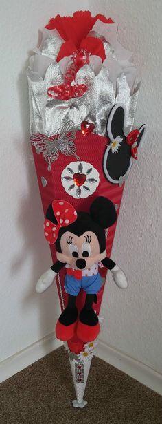 Schultüte Zuckertüte Mädchen Minnie Mouse Maus Handarbeit Unikat