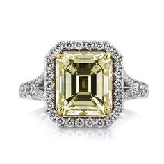 5.05ct Fancy Light Brown Green Yellow Emerald Cut Diamond Engagement Ring available at Markbroumand.com!