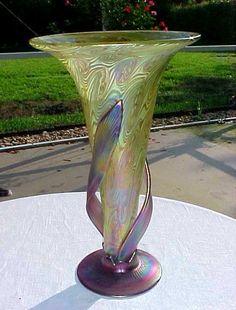 """Z FUSION Loetz Style CZECH STUDIO ART GLASS TRUMPET VASE 14"""" Signed IGOR MULLER"""