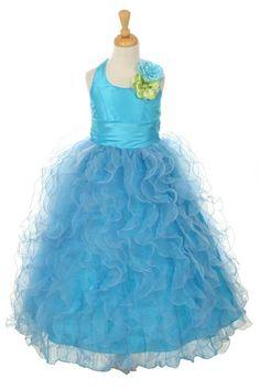 Girls Dress Style Halter Style Dress with Ruffle Taffeta Skirt Girls Pageant Dresses, Girls Formal Dresses, Pageant Gowns, Little Girl Dresses, Flower Girl Dresses, Flower Girls, Blue Dresses, Turquoise Flower Girl Dress, Taffeta Skirt