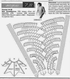 Crochet tunic w/ charts Can anyone read Russian? Poncho Au Crochet, Crochet Tunic, Irish Crochet, Crochet Clothes, Crochet Stitches Patterns, Crochet Designs, Stitch Patterns, Knitting Patterns, Crochet Diagram